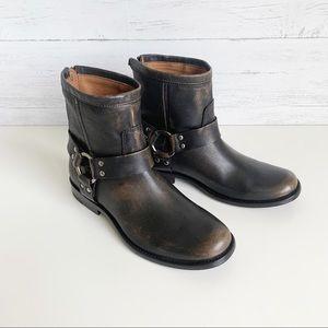 NWT Frye Philip Harness Short Boot Dark Brown
